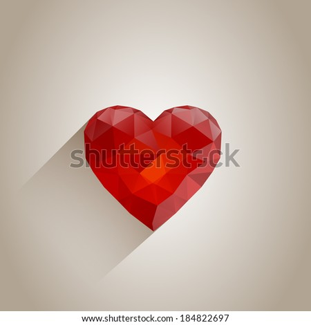 Abstract Polygonal Heart with Long Shadow - stock vector