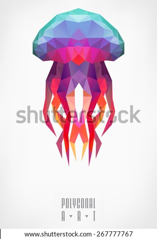 Abstract polygonal jellyfish. low poly illustration. Polygonal poster - stock vector