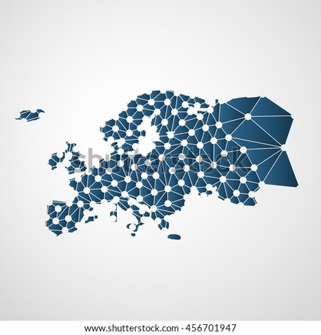 Abstract Polygonal Map of Europe with Digital Network Connections - Minimal Modern Style Technology Background, Creative Design Vector Illustration Template - stock vector