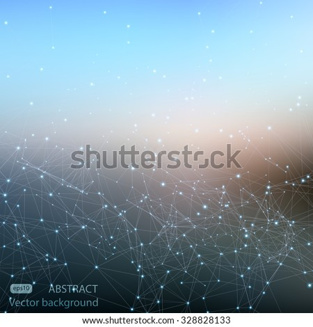 Abstract polygonal mesh space futuristic background. Digital blurred technology style. Defocused blank for business presentations or gift cards. Vector EPS10 - stock vector