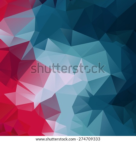 Abstract polygonal red and blue background. Trendy geometric triangle hipster background. Ideal for gadgets backdrop or presentations. - stock vector