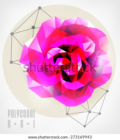 Abstract polygonal rose. low poly illustration. Creative poster - stock vector