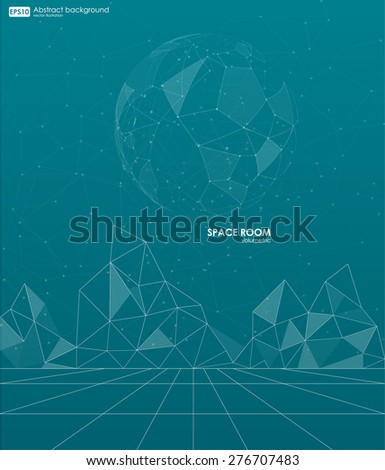 Abstract polygonal space low poly background with connecting dots and lines. Connection structure. Vector science background. Futuristic HUD background. Business abstract Vector illustration - stock vector