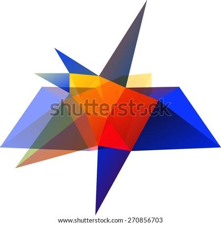 Abstract polygonal vector shape, design element.  - stock vector