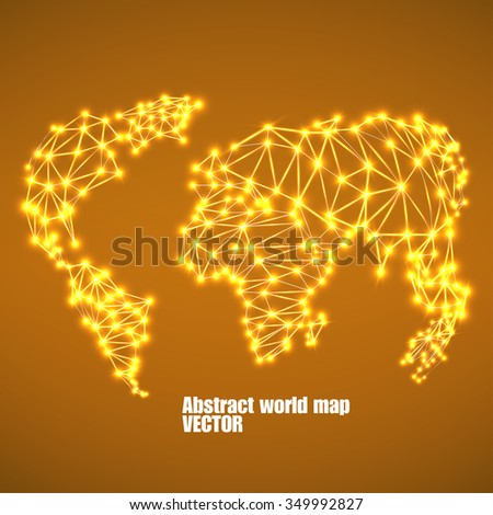 Abstract polygonal world map with glowing dots and lines, network connections. Vector illustration. Eps 10 - stock vector