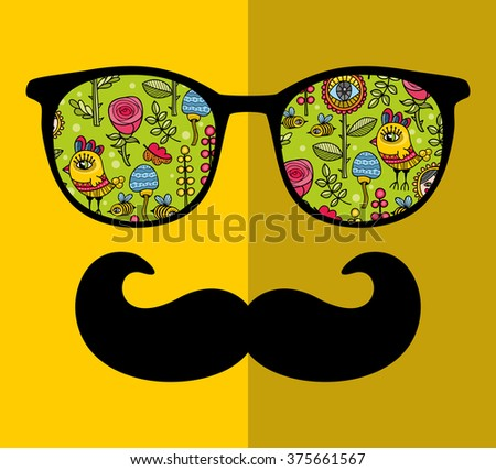 Abstract portrait of man in sunglasses with moustache. Vintage print in vector. - stock vector