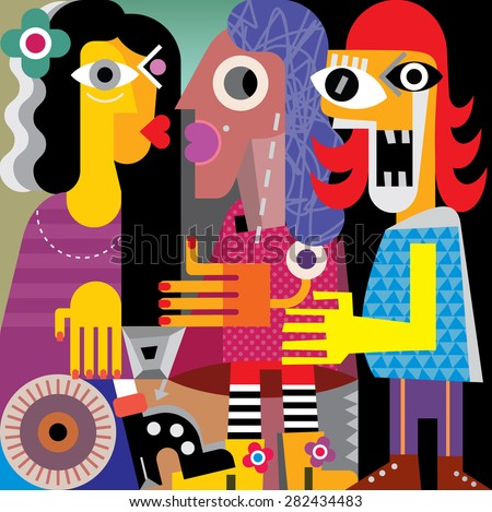 Abstract portrait of three ugly women. Vector artwork.  - stock vector