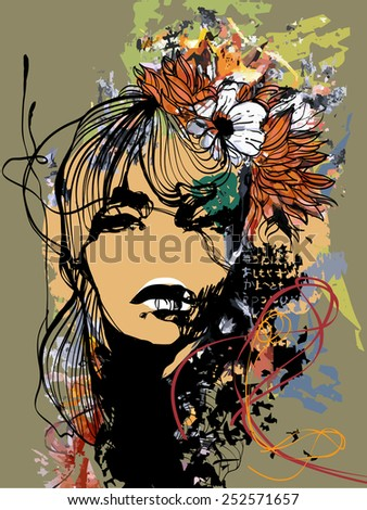 Abstract print with female face, painted elements and flowers - stock vector