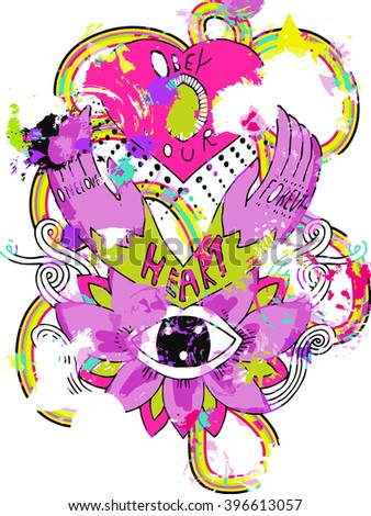 abstract psychedelic poster - stock vector