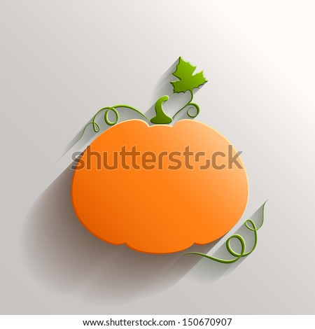 Abstract Pumpkin with Long Shadow over White Background - stock vector