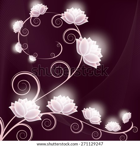 Abstract Purple Background with Shiny Flowers. - stock vector