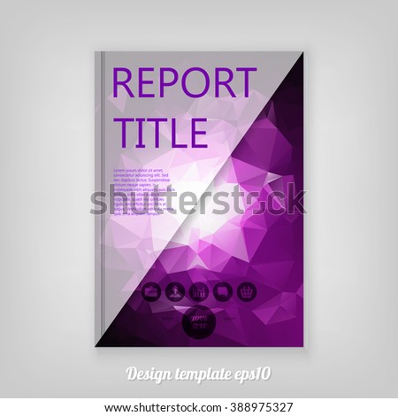 Abstract purple geometric cover design with triangular polygons, Brochure Design. Cover, Corporate Leaflet Template - stock vector