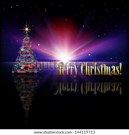 abstract purple greeting with Christmas tree on black background - stock vector