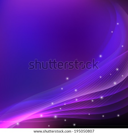 Abstract purple imagination background with sparkles. Violet flow. Purple smooth wave design template. Abstract curve background - vector eps10 illustration  - stock vector