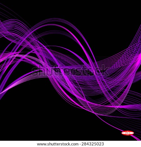 abstract purple line pink wave violet band isolated on black background. vector illustration - stock vector
