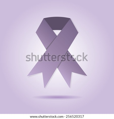 Abstract purple ribbon on purple gradient background - stock vector
