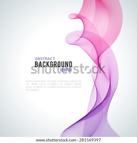 Abstract purple wave isolated on white background. Vector illustration for modern business design. Futuristic wallpaper. Cool element for presentation, card, flyer and brochure. - stock vector