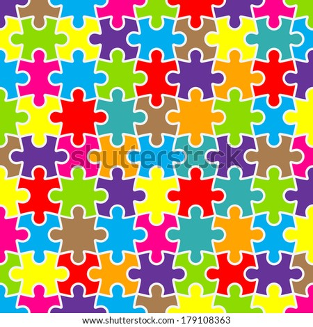 Abstract puzzle background design with colorful pieces  - stock vector