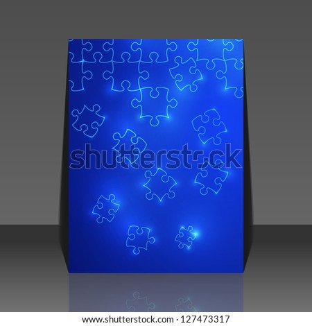Abstract puzzle background flyer design - stock vector