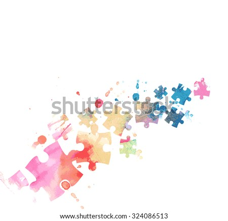 Abstract puzzle colorful background - stock vector