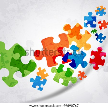 abstract puzzle shape colorful vector design - stock vector
