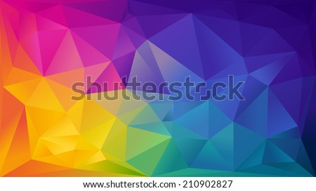 Abstract rainbow background consisting of colored triangles - stock vector