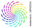 Abstract rainbow color spiral made up of twisted rectangle shapes. - stock vector
