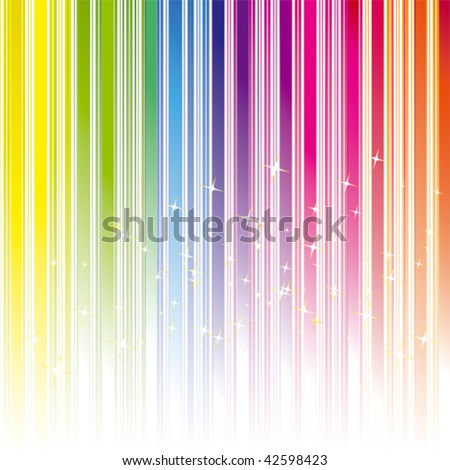 Abstract rainbow color stripe background with stars - stock vector