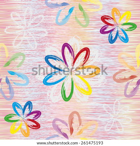 Abstract rainbow flowers on grunge striped colorful background in seamless composition - stock vector