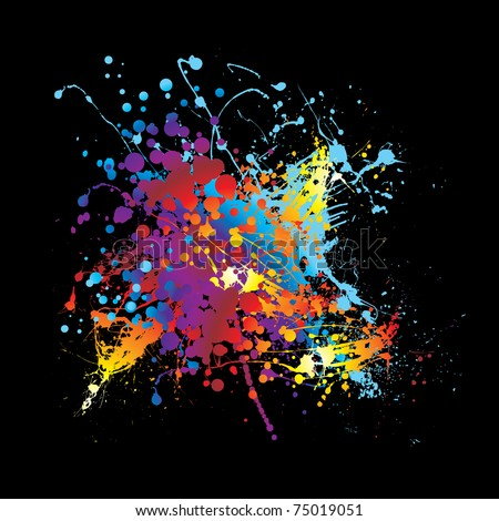 Abstract rainbow ink splat black background with room for text - stock vector