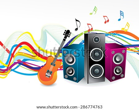 abstract rainbow wave with musical sound vector illustration - stock vector