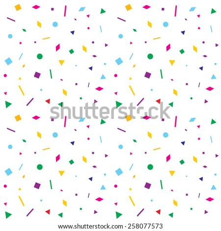 Abstract random colorful geometric figures seamless pattern. 2x2 tile sample. Transparent background layer. - stock vector