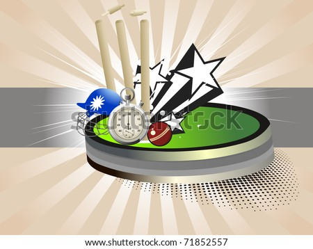 abstract rays background with cricket supplies, vector illustration - stock vector
