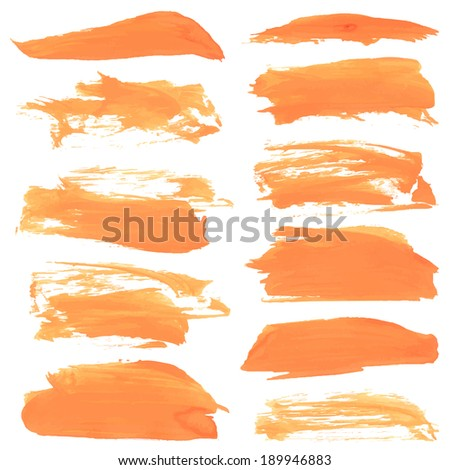 Abstract realistic smears orange gouache paint on white paper 1 - stock vector