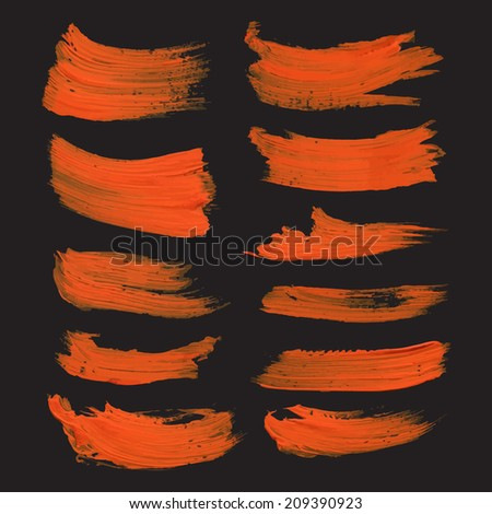 Abstract realistic strokes drawn thick orange paint on black paper 1 - stock vector