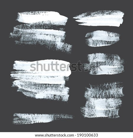Abstract realistic strokes drawn thick white paint on black paper 2 - stock vector