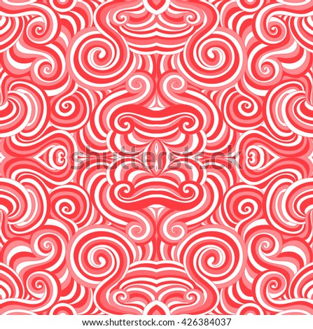 Abstract red and white vector seamless pattern with colorful curling red and white lines and ornaments. Endless vector texture - stock vector