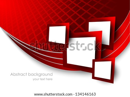 Abstract red background with squares - stock vector
