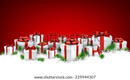 Abstract red christmas background with fir branches and realistic gift boxes. Vector illustration.  - stock vector