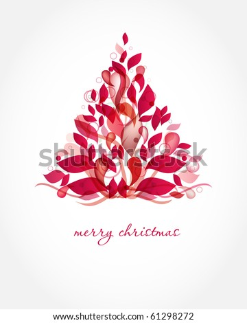 Abstract red christmas tree. Christmas Tree from abstract transparent elements. Christmas card design. Christmas poster, t-shirt or web design with red fir tree - stock vector