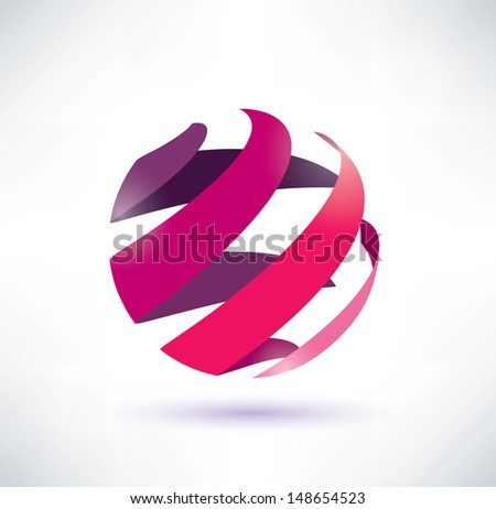 abstract red globe icon, energy concept - stock vector