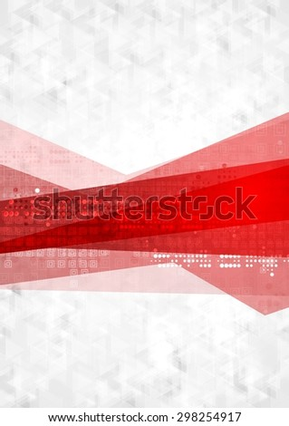 Abstract red gray technology background. Vector design - stock vector