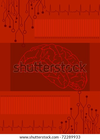 abstract red heartbeat background with human brain, vector illustration - stock vector
