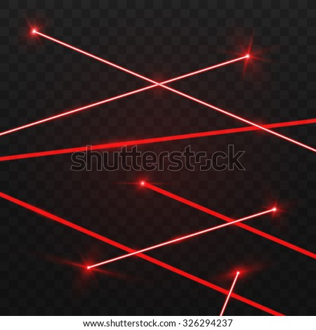 Abstract red laser beams. Isolated on transparent black background. Vector illustration, eps 10. - stock vector