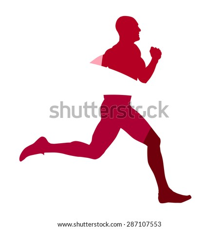 Abstract red male runner geometric silhouette - stock vector