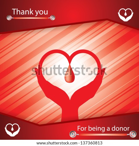 Abstract red medical background thanking for being donor - stock vector