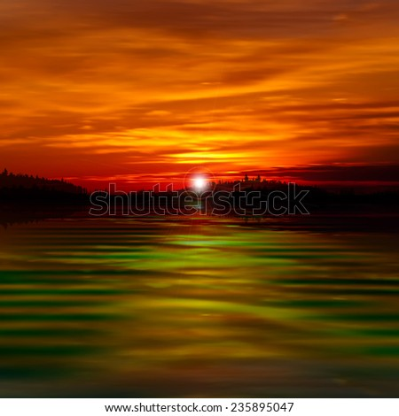 abstract red nature cloud background with forest lake and sunset - stock vector