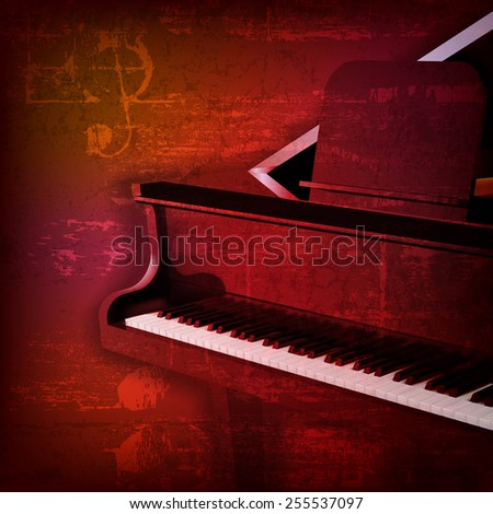 abstract red sound grunge background with grand piano - stock vector