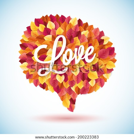 Abstract red speech bubble leaf vector background. Communication ecology concept - stock vector