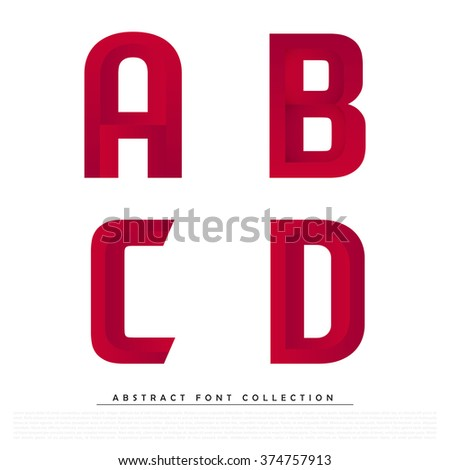 Abstract Red Typographic Alphabet in a Vector Set | Contains Vibrant Colors and Minimal Design - stock vector